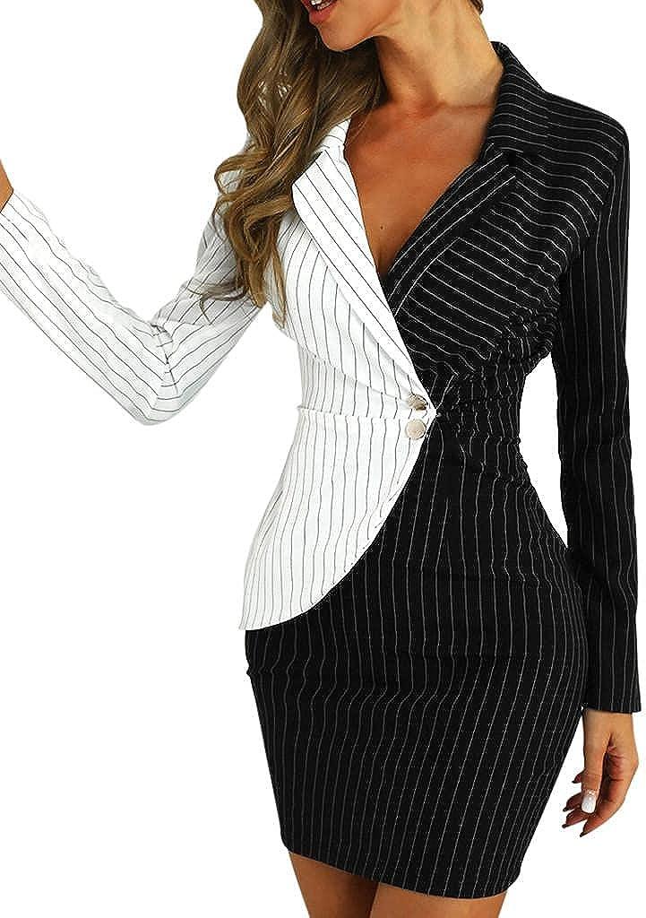 Women's Slim Button up Work Business Office Party Bodycon Dress V Neck Sheath Elegant Formal Pencil Midi Suit Dresses