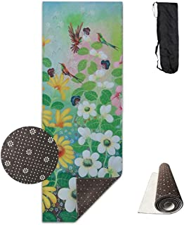 wenhuamucai Morning Glory and Hummingbird Yoga Mat - Advanced Yoga Mat - Non-Slip Lining - Easy to Clean - Latex-Free - Lightweight and Durable - Long 180 Width 61cm