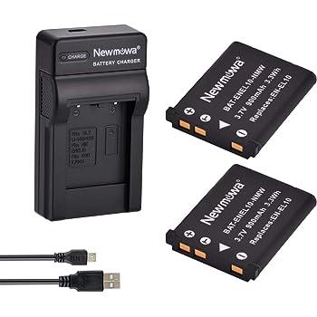 Newmowa EN-EL10 互換バッテリー 2個 + 充電器 対応機種 Nikon EN-EL10 COOLPIX S200 S210 S220 S230 S3000 S4000 S500 S510 S5100 S520 S570 S60 S600 S700 S80