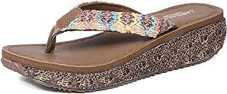 AUCDK Women Flip Flops Bohemia Style Wedge Heel Clip Toe Sandals Platform Thongs Sandals Summer Beach Shoes