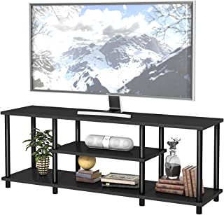 """Tangkula 3-Tier TV Stand, No Tools 3D Entertainment TV Stands, Industrial Rustic Entertainment Center for TVs up to 48"""", Media Console Table for Home Living Room Bedroom (Black)"""