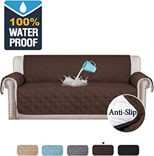 H.VERSAILTEX 100% Waterproof Couch Covers for 3 Cushion Couch Quilted Sofa Furniture Covers for Living Room Stay in Place Non-Slip Sofa Protector for Pets Perfect for Kids, Dogs (Sofa Large: Brown)