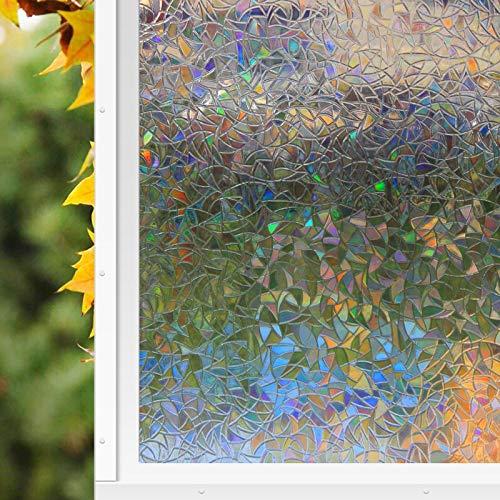 Zindoo Fensterfolie Dekorfolie Sichtschutzfolie Blickdicht Hochwertige Ohne Klebstoffe 3D Regenbogenfarben Effekt unter Licht, Statisch Folie Anti-UV 44.5 * 200cm