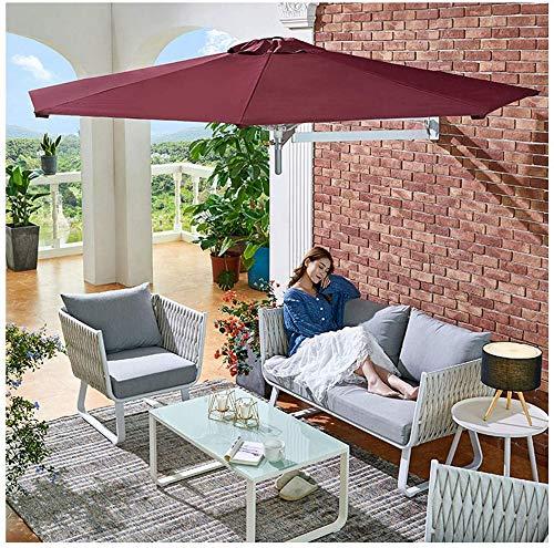 WGFGXQ Sombrilla de jardín sombrilla, sombrilla de Patio portátil montada en la Pared, Barra de balcón Tienda de Juguetes Sombrilla roja 2.2m/7.2ft Resistente al Viento Impermeable Robusto Sunbre