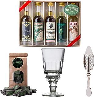 Absinth Starter Set | Komplett mit 5x original Absinth | 1x Absinth-Glas | 1x Absinth-Löffel | 1x Zuckerwürfel | Auch super als Geschenk