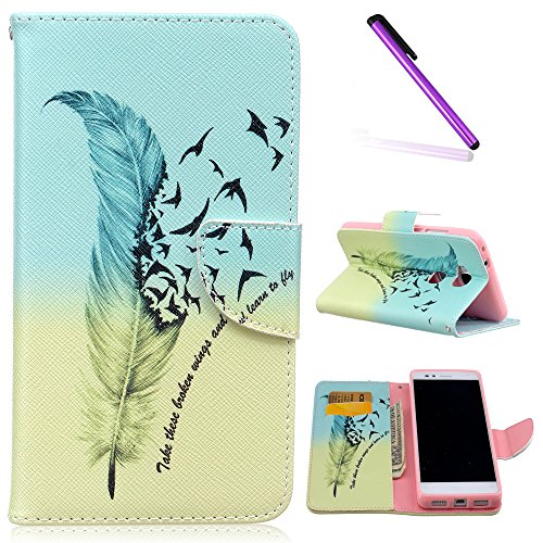 EMAXELERS Huawei Honor 5X Hülle Niedlich Schmetterling Ledertasche Lederhülle Handyhülle Wallet Handytasche mit Standfunktion Karteneinschub,Blue Yellow Feather