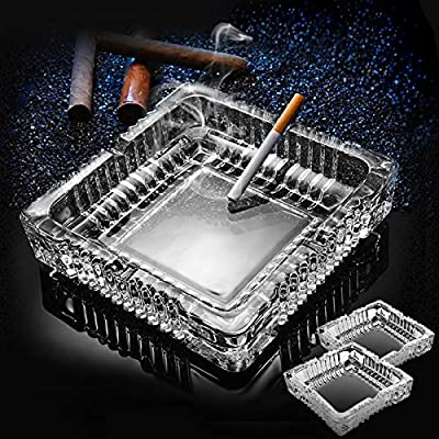 KUCEMO Ashtray ?Large Luxury Glass Ashtray for cigarettes cigars ?Big Ashtray for Smoker Outdoor Indoor Restaurant Decoration (7x7inch)