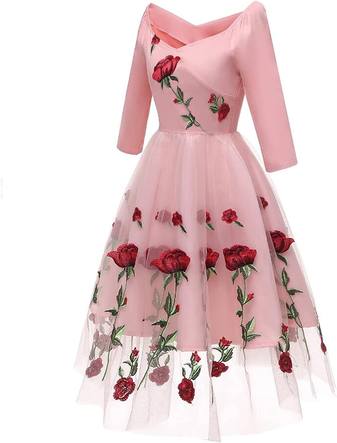Women Elegant Midi Dress for Formal Cocktail, Lace Flower Printed Fall Long Sleeve 3/4 Sleeve Casual Flared Midi Dress