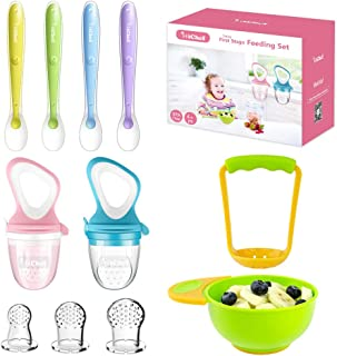 Food Feeder Baby Fresh Fruit Feeder (2 Pack) with 3 Different Sized Silicone Pacifiers, Mash and Serve Bowl with 4 Soft-Tip Silicone Baby Spoons, Perfect Baby First Stage Feeding Set by MICHEF