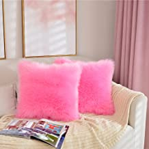BonjouRR Pack of 2 Faux Fur Throw Pillow Cover 18x18 Inches Decorative Pillows Cases Covers for Home Decor Couch Sofa(Pink)
