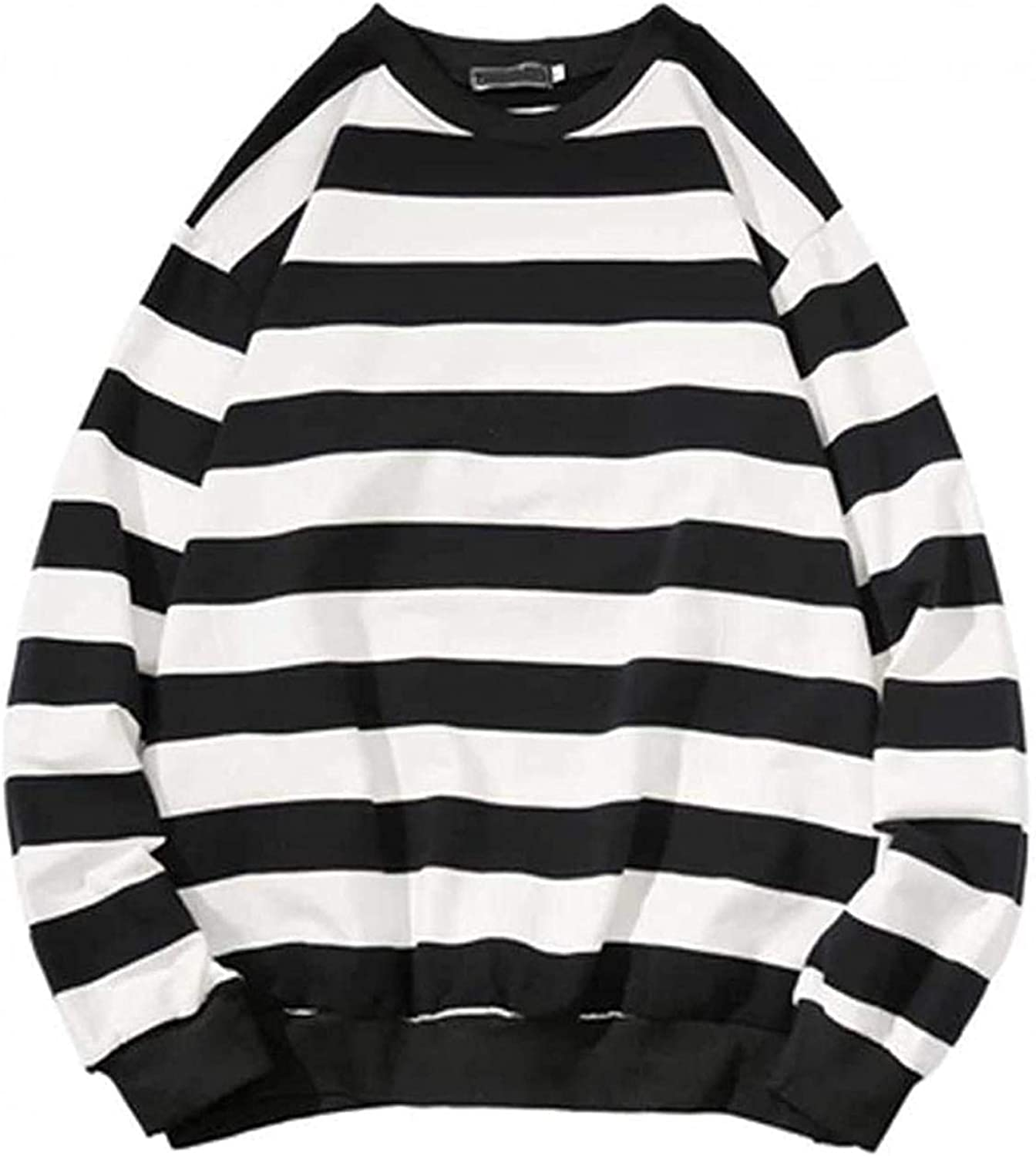 LEIYAN Mens Striped Round Neck Sweatshirt Casual Long Sleeve Comfortable Sports Jacket Sweater Outdoor