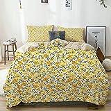 Juego de funda de edredón, diseño de flores pequeñas y floras, flores de primavera, flores florales pequeñas y vintage, juego de cama decorativo de 3 piezas con 2 fundas de almohada, tamaño King