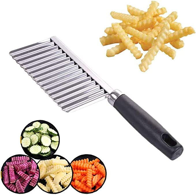 Amazon.com: Crinkle Cutter, Wavy Chopper Cut Knife, Stainless Steel Wavy Slicer, Vegetable Potato Cucumber Carrot Garnishing Knife, Home Kitchen Wavy Blade Cutting Tool: Home & Kitchen