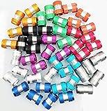 Greluma 50 pezzi tappi valvola per pneumatici per auto con guarnizione O-ring, tappi aria per auto in alluminio antipolvere, 10 colori