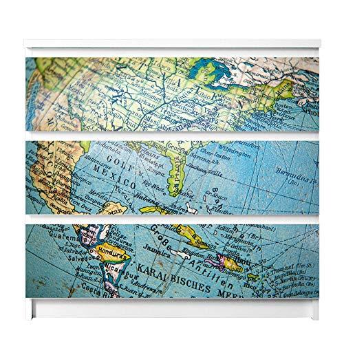banjado Möbelfolie passend für IKEA Malm Kommode 3 Schubladen | Möbel-Sticker selbstklebend | Aufkleber Tattoo perfekt für Wohnzimmer und Kinderzimmer | Klebefolie Motiv Globus