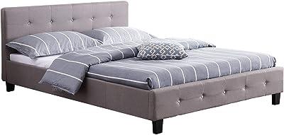 IDIMEX Lit Double pour Adulte Josy Couchage 140 x 190 cm avec sommier 2 Places / 2 Personnes, tête et Pied de lit capitonnés avec Strass, revêtement en Tissu Gris