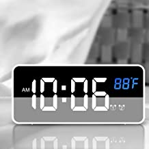 Nicewell Traveling Digital Alarm Clock Mini Size White with USB Charging LED Time or Temperature Display, Snooze, Adjustab...