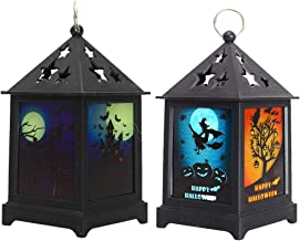 SOLUSTRE 2pcs Halloween Candle Lantern Creative Broom Witch Castle Pattern LED Candle Decorative Hanging Lantern for Hallo...