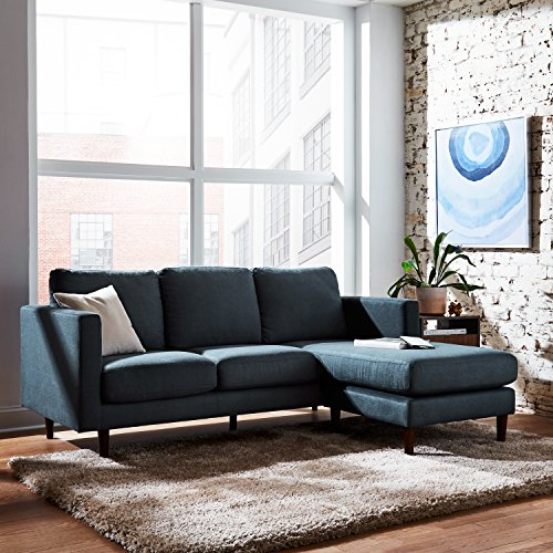 "Amazon Brand – Rivet Revolve Modern Upholstered Sofa with Reversible Sectional Chaise, 80""W, Denim Blue"