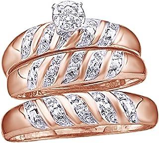 Set di anelli trio a fascia in oro massiccio 10 ct (0,08 ct), con diamante naturale bianco