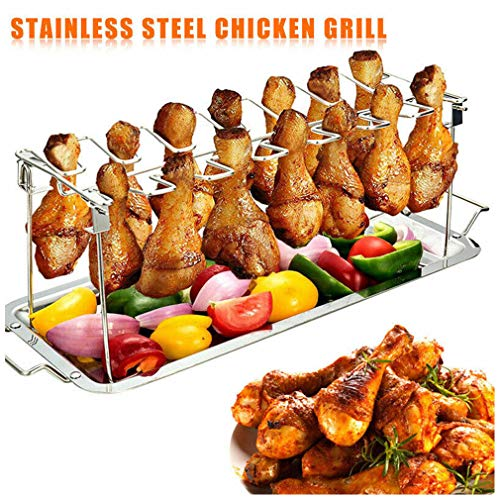 Dragon Honor Chicken Holder Rack Grill Stand Roasting for BBQ Non Stick Stainless Steel, Premium Hähnchenschenkelhalter für Backofen & Grill, Hähnchenschenkelhalter aus Edelstah für 12 Keulen