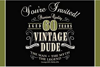 8-Count Party Invitations, Vintage Dude 60th Birthday