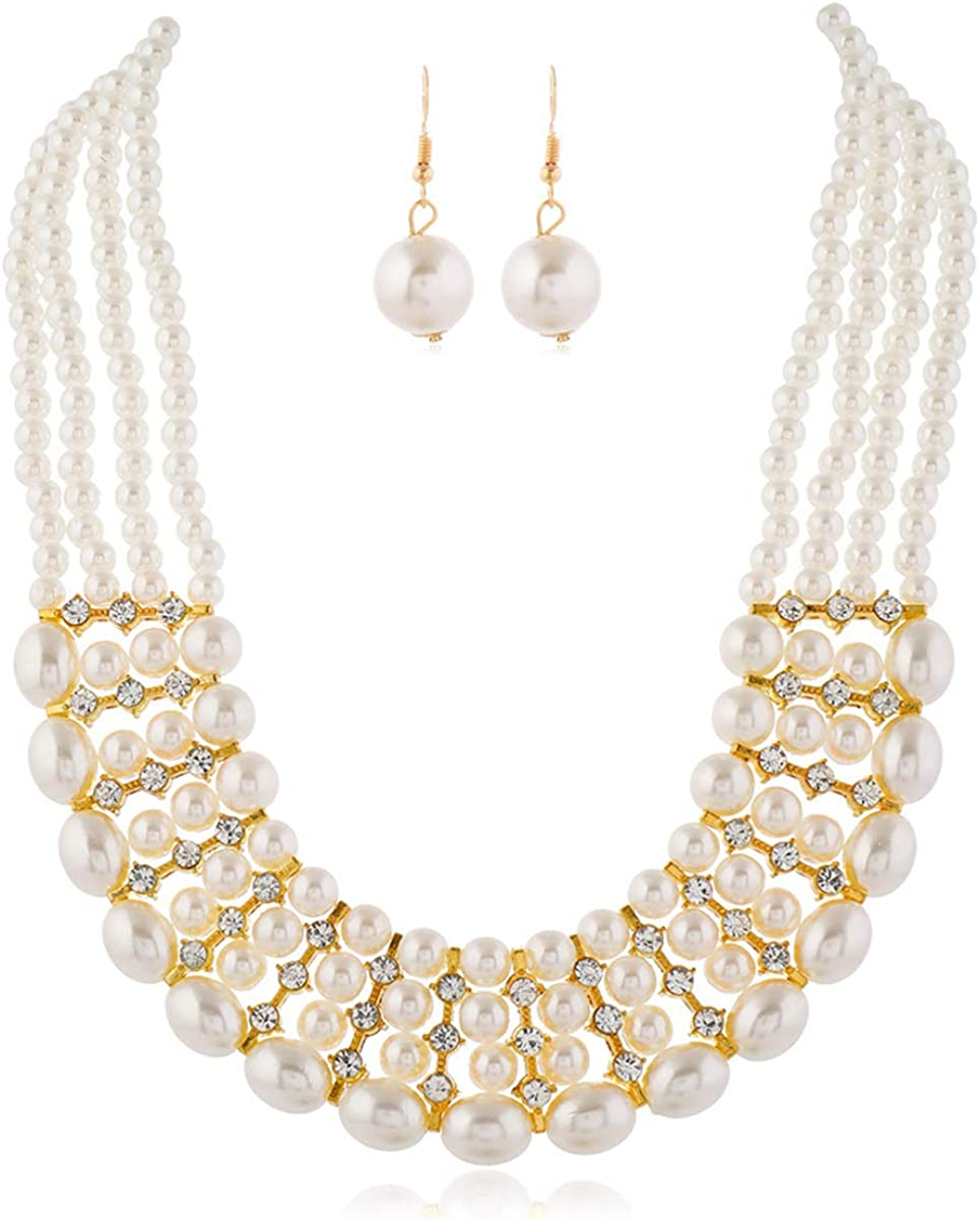 Pearl Necklace for Women Multi Strand Chunky Pearl Statement Necklace Costume Jewelry Pearl Necklace and Earring Set