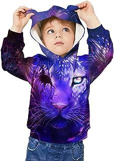 WOCACHI Teen Kids Boys 3D Digital Print Christmas Hoodies, Little Big Boy 3D Hooded Sweatshirt Pullover with Pockets