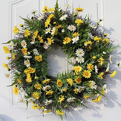 æ— Daisy Silk Fall Wreath, 22 Inch Daisy Flower Door Wreath Garland for Front Door Window Wedding Decor