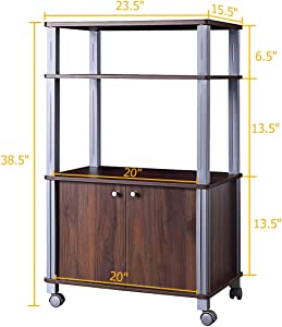 lunanice Walnut Rack Stand Rolling Storage Cart Drawers Multi-Functional Display Trolley Island Rack Bakers Microwave Dining Kitchen