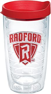 Tervis 1255810 Radford Highlanders Logo Insulated Tumbler with Emblem and Red Lid, Tritan, Clear