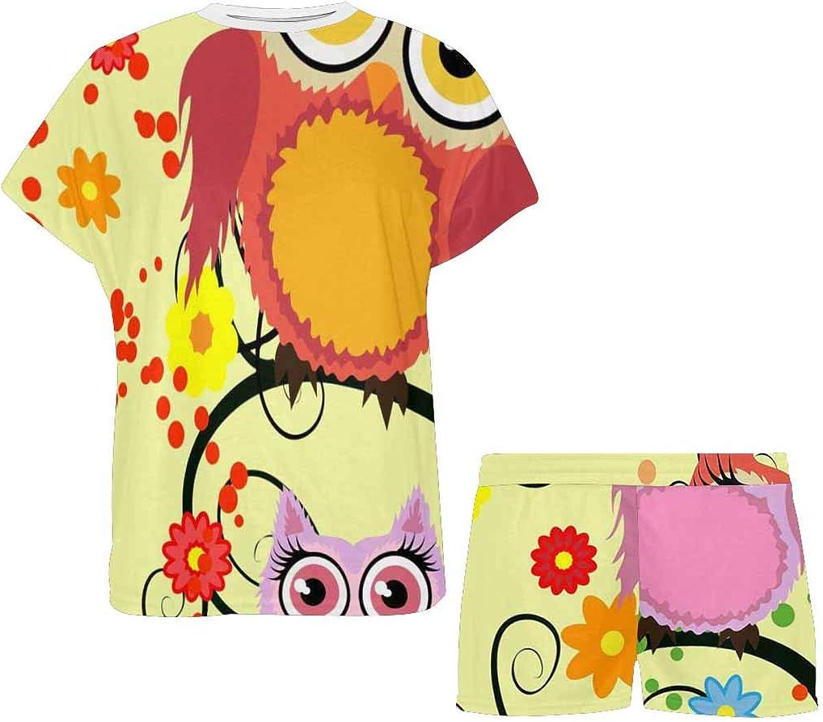 INTERESTPRINT Owls Tree Branch Women's Pajamas Short Sets Round Neck Short Sleeve Sleepwear