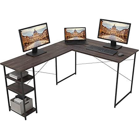 モダンデコ 木製 L字型 パソコンデスク オフィスデスク テレワーク 在宅勤務 幅120cm(ダークブラウン)
