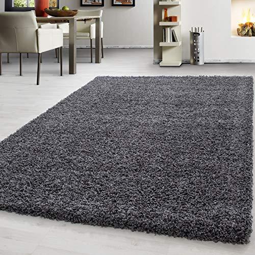 Teppich hochflor Shaggy Teppich modern einfarbig langflor Wohnzimmer teppiche, Maße:140 cm x 200 cm, Farbe:Grau