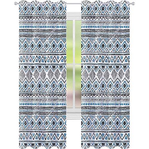 Cortinas opacas de dormitorio, Chevron Triángulos Líneas Rayas Antiguas Tribales Diseño Antiguo, W52 x L84 Para Puertas de Vidrio Corredizas, Sala de Sala, Azure Azul Carbón Gris Blanco