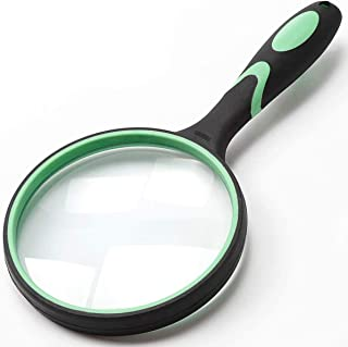 10X Handheld Reading Magnifier, 100mm Large Real Magnifying Glass Lens for Book Newspaper Reading, Classroom Science Insec...