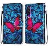 ShinyHülle für Honor 9X Pro,Lederhülle Brieftasche Handyhülle ID Kartenfächer Magnetischer Etui Protective Anti-Scratch Schutz PU Leder Hülle für Honor 9X Pro -Roter Blau Schmetterling