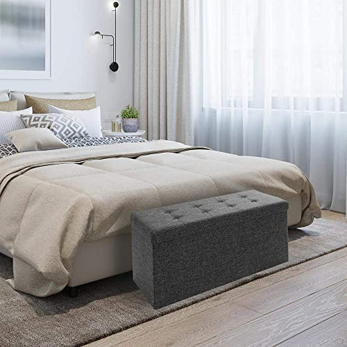 Seville Classics Foldable Tufted Storage Bench/Ottoman with Bin, Charcoal Grey