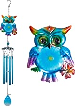 xxschy 30 Inch Blue Owl Wind Chimes Indoor/Outdoor - Waterproof 4 Aluminum Tube Handmade Metal Music Wind Chime, Mobile Romantic Wind-Bell for Home, Party, Festival Decor, Garden Decoration(Blue Owl)