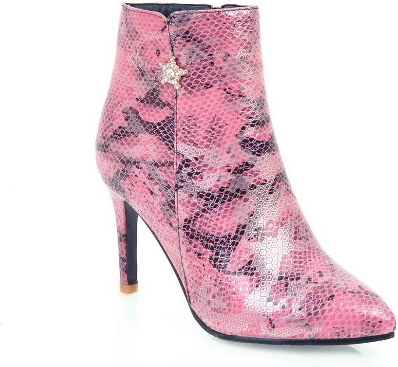 AdeeSu Womens Spikes Stilettos Pointed-Toe Urethane Boots SXC03245