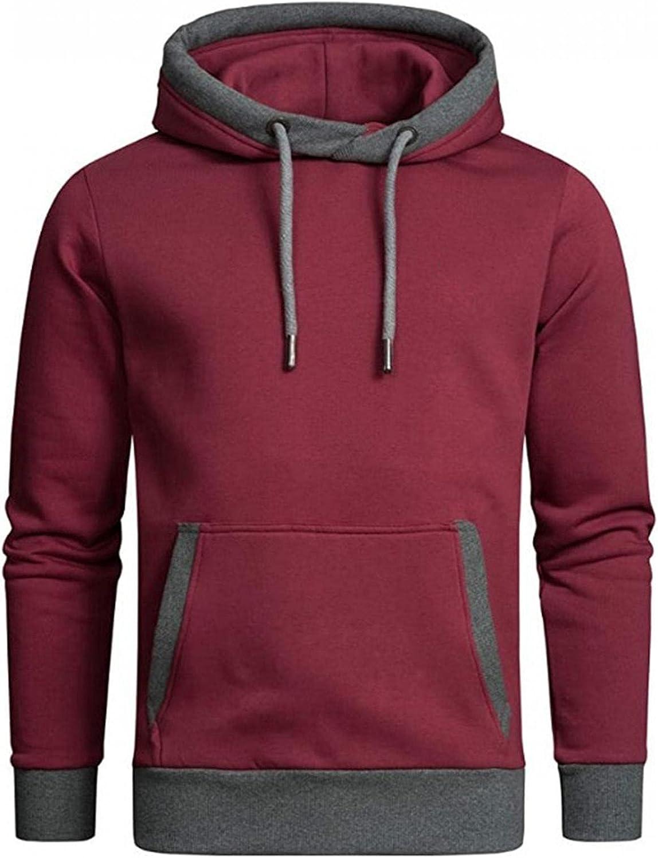 LEIYAN Mens Novelty Color Block Pullover Casual Long Sleeve Drawstring Fleece Stylish Gym Running Sweatshirts