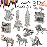 3D Coloring Painting Puzzle (10 Pack)-DIY Arts and Crafts for Girls & Boys