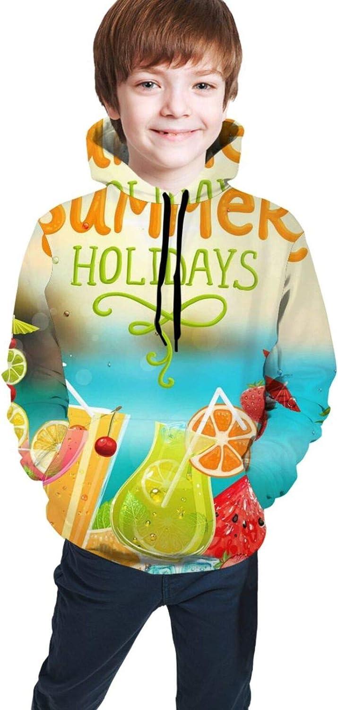 Boys Girls Hoodie, Tropical Summer Fruit Unisex 3D Printing Teenager Sweatshirt Kids Children's Sweater for Age 7-20