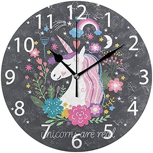 ALAZA 可爱独角兽彩虹星星圆形亚克力挂钟静音无褥套油画家居办公学校装饰钟艺术