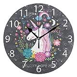 ALAZA Cute Unicorn with Rainbow Stars Round Acrylic Wall Clock, Silent Non Ticking Oil Painting Home Office School Decorative Clock Art