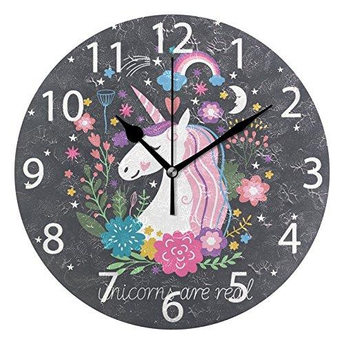 Alaza Wanduhr, niedliches Einhorn mit Regenbogen-Sternen, rund, Acryl, geräuschlos, Nicht tickend, für Zuhause, Büro, Schule, Dekorative Uhr