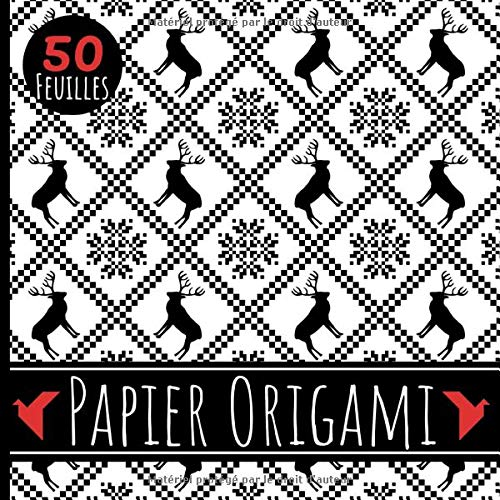 Papier Origami: Carnet de 50 feuilles format 21 cm x 21cm (5 modèles x 10 feuilles) - Papier de qualité 90g/m² - Enfants et adultes - Thème Noël