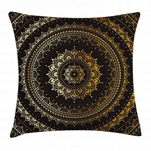 N\A Mandala Throw Pillow Cojín, Estampado geométrico Floral en círculos, Estampado gráfico Redondo, Funda de Almohada Decorativa Cuadrada, Amarillo Tierra, Negro, Amarillo