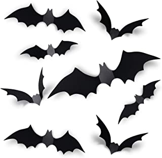 Coogam 60PCS Halloween 3D Bats Decoration 2020 Upgraded, 4 Different Sizes Realistic PVC Scary Black Bat Sticker for Home ...