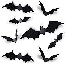 Coogam 60PCS Halloween 3D Bats Decoration, 4 Different Sizes Realistic PVC Scary Bat Sticker for Home Decor DIY Window Dec...